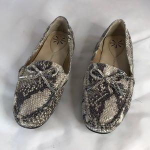Issac mizrahi snake Embossed leather moccasins